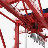 Port Container Crane Red with Container. Preview 23