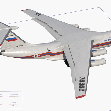 Ilyushin Il-76 Emergency Russian Air Force Rigged. Render 20