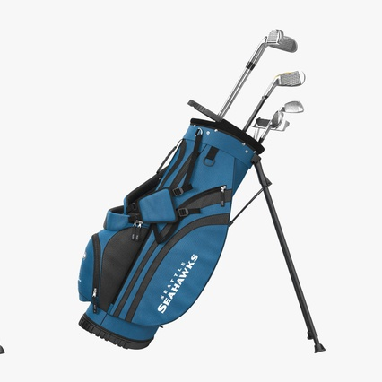 Golf Bag Seahawks with Clubs. Render 5