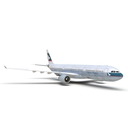 Jet Airliner Airbus A330-300 Cathay Pacific Rigged. Render 24