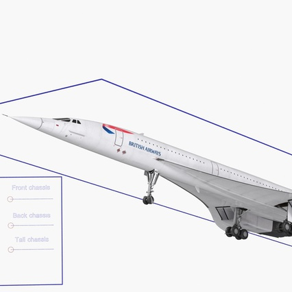 Concorde Supersonic Passenger Jet Airliner British Airways Rigged. Render 5