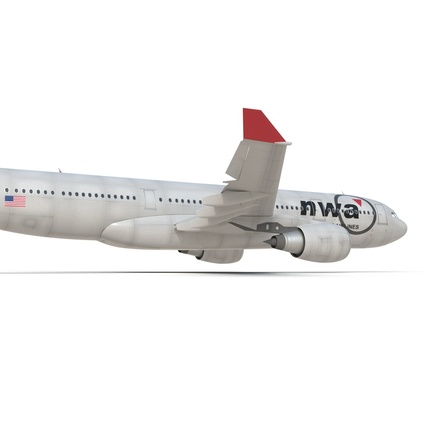 Jet Airliner Airbus A330-200 Northwest Airlines Rigged. Render 34