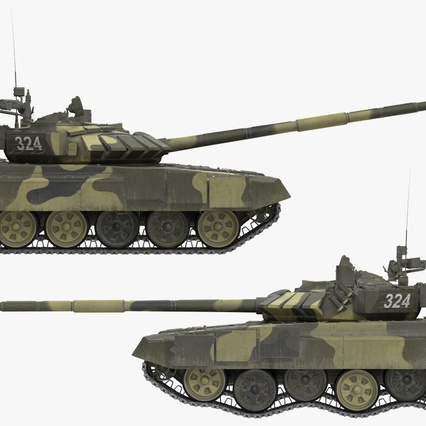 T72 Main Battle Tank Camo Rigged. Render 8