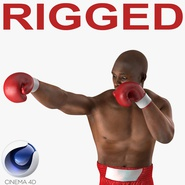 African American Boxer Red Suit 2 Rigged for Cinema 4D