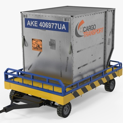 Airport Transport Trailer Low Bed Platform with Container Rigged. Render 2