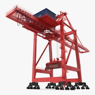 Port Container Crane Red with Container. Preview 1