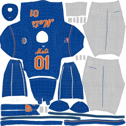 Baseball Player Outfit Mets 2. Render 38