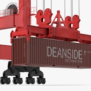Port Container Crane Red with Container. Preview 31