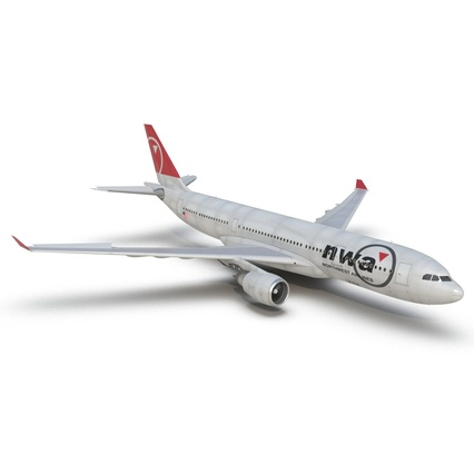 Jet Airliner Airbus A330-200 Northwest Airlines Rigged. Render 22