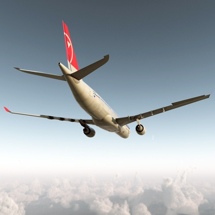 Jet Airliner Airbus A330-300 Northwest Airlines Rigged. Render 13