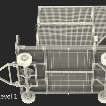 Airport Luggage Trolley with Container. Render 18