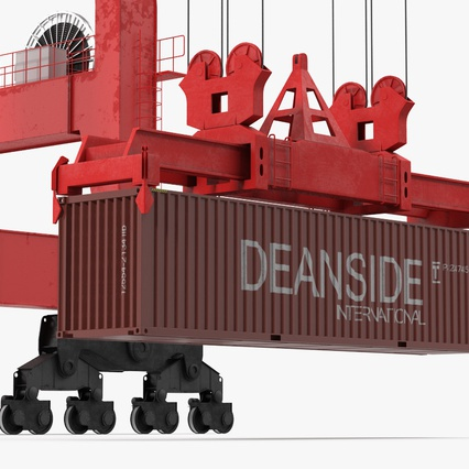 Port Container Crane Red with Container. Render 31