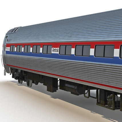 Railroad Amtrak Passenger Car 2. Render 18