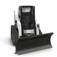 Compact Tracked Loader Bobcat With Blade Rigged. Preview 8
