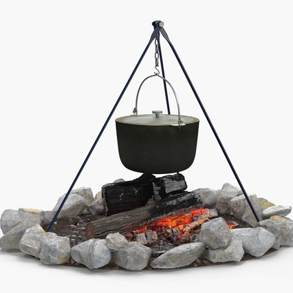 Campfire with Tripod and Cooking Pot. Render 3