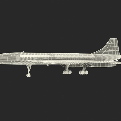 Concorde Supersonic Passenger Jet Airliner British Airways Rigged. Render 6