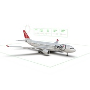 Jet Airliner Airbus A330-200 Northwest Airlines Rigged. Preview 5