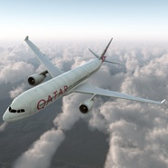 Jet Airliner Airbus A330-300 Qatar Rigged. Preview 2