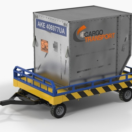 Airport Transport Trailer Low Bed Platform with Container Rigged. Render 3