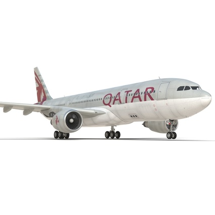 Jet Airliner Airbus A330-200 Qatar. Render 29
