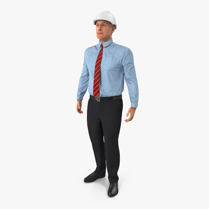 Construction Engineer in Hardhat Standing Pose. Render 3