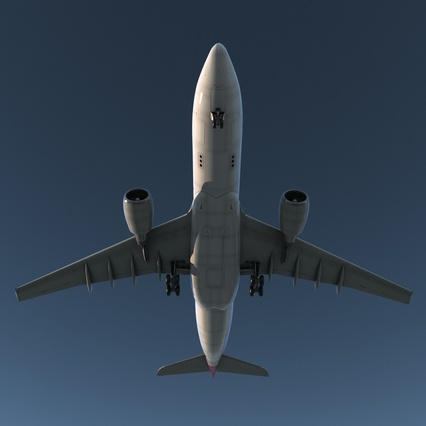 Jet Airliner Airbus A330-200 Qatar. Render 9