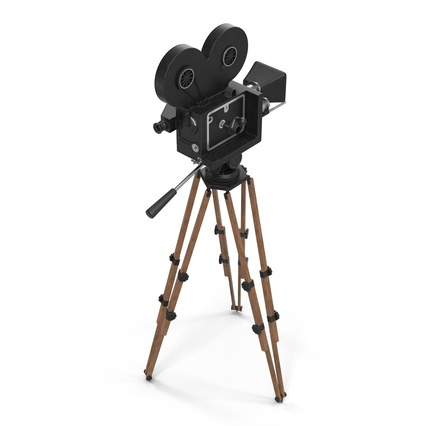 Vintage Video Camera and Tripod. Render 10