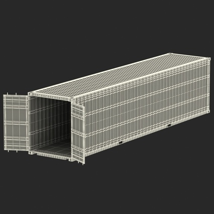 40 ft High Cube Container Blue 2. Render 36