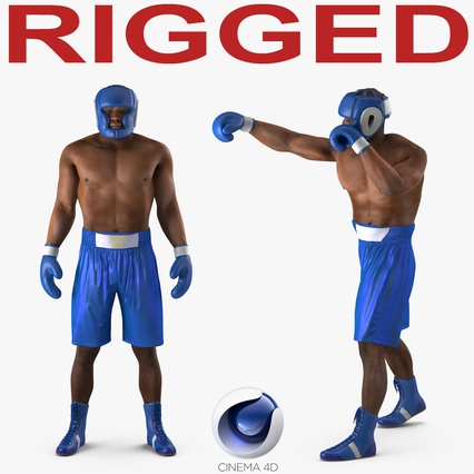 African American Boxer Rigged for Cinema 4D. Render 1