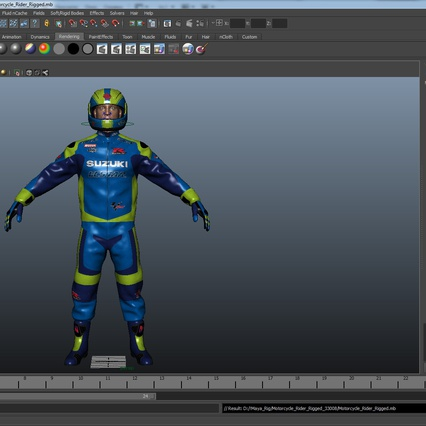 Motorcycle Rider Rigged for Maya. Render 46