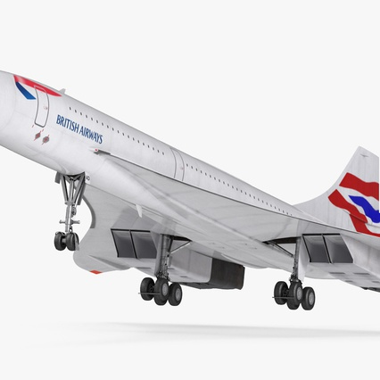 Concorde Supersonic Passenger Jet Airliner British Airways Rigged. Render 2