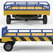 Airport Transport Trailer Low Bed Platform with Container Rigged. Preview 19