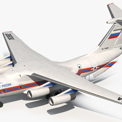 Ilyushin Il-76 Emergency Russian Air Force Rigged. Render 12