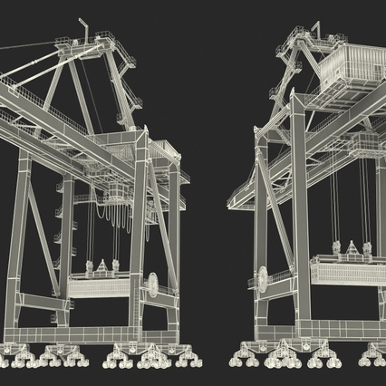 Port Container Crane Red with Container. Render 45