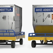 Airport Transport Trailer Low Bed Platform with Container Rigged. Preview 9