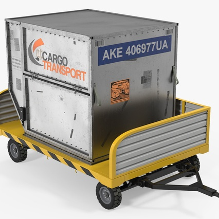Airport Luggage Trolley with Container. Render 2