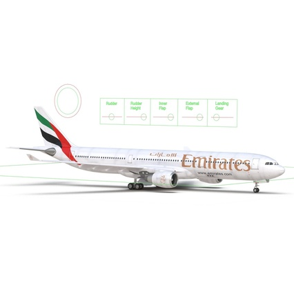 Jet Airliner Airbus A330-300 Emirates Rigged. Render 51