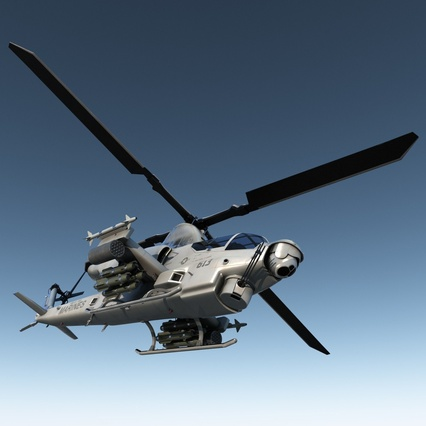 Attack Helicopter Bell AH 1Z Viper Rigged. Render 12