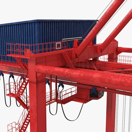 Port Container Crane Red with Container. Render 26