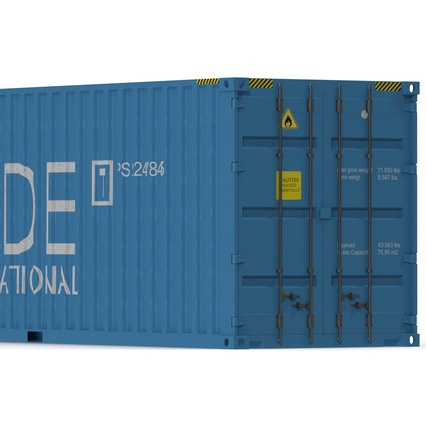 40 ft High Cube Container Blue 2. Render 19