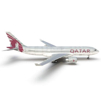 Jet Airliner Airbus A330-200 Qatar. Render 21