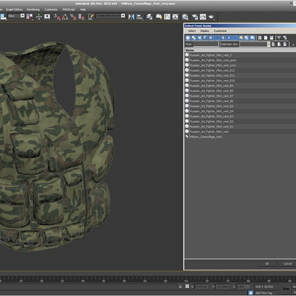 Military Camouflage Vest. Render 14