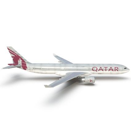 Jet Airliner Airbus A330-300 Qatar Rigged. Render 25