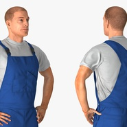 Construction Worker Blue Overalls Standing Pose. Preview 9