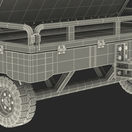 Airport Transport Trailer Low Bed Platform with Container Rigged. Render 35