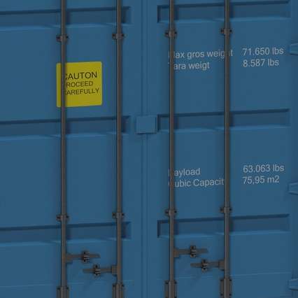 40 ft High Cube Container Blue 2. Render 25