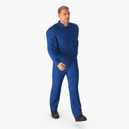 Worker In Blue Overalls Walking Pose