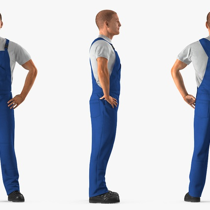 Construction Worker Blue Overalls Standing Pose. Render 6
