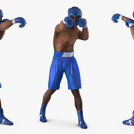 African American Boxer Rigged for Cinema 4D. Render 12