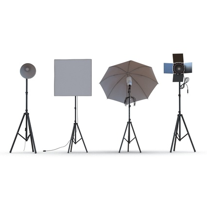 Photo Studio Lamps Collection. Render 10